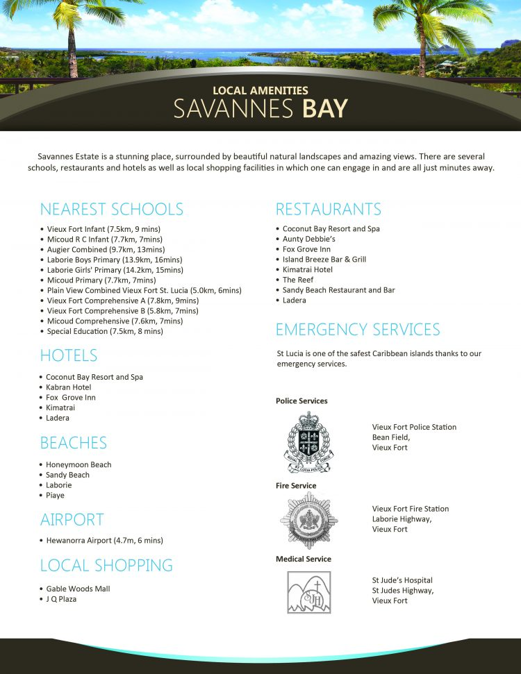 PALMISTE COVE FLYER – DESIGNS – SAVANNES BAY